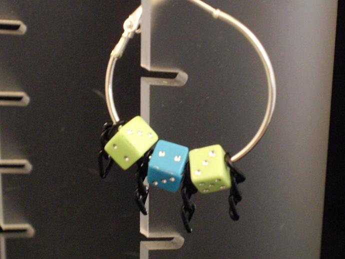 Dice Bead and Chain Hoop Earrings