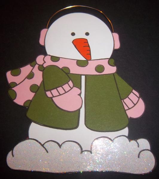 Green w/Light Pink Snowman Scrapbook Page Element