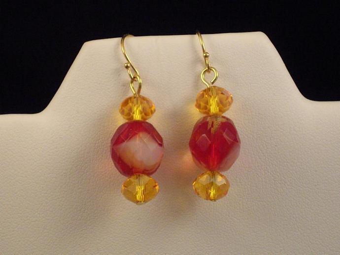 Red Swirl and Crystal Bead Drop Earrings