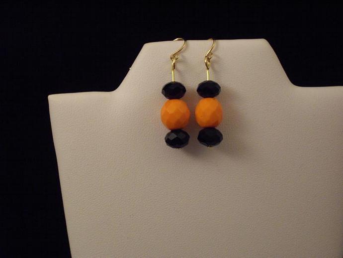 Black and Orange Crystal Earrings