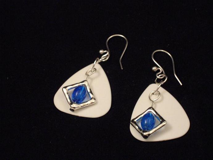 Blue Crackle Glass and Guitar Pick Earrings