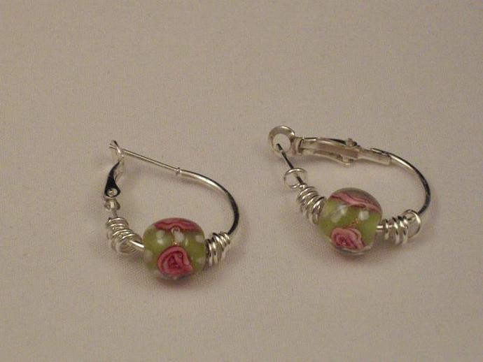 Lampwork Pink Rose Earrings