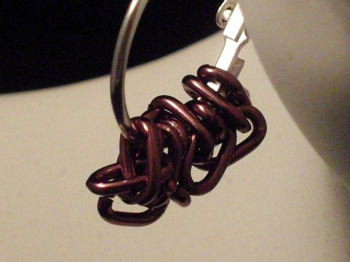 Purple Chain and Hoop Earrings