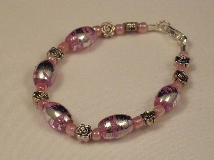 Pink Crackle Glass and Roses Bracelet