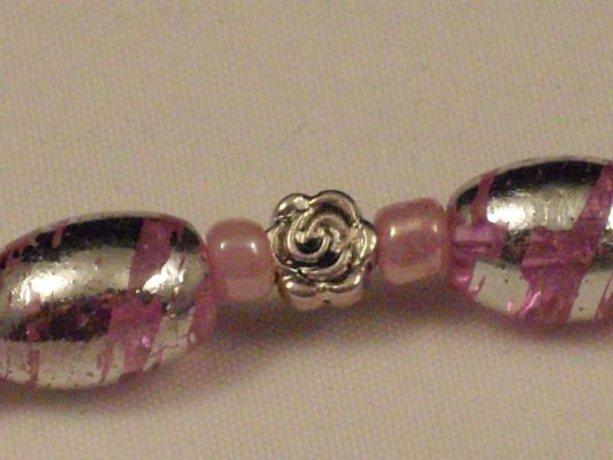Pink Crackle Glass and Roses Bracelet