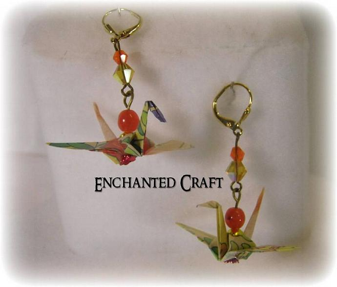 Origami CRANE Earrings with glass beads- good luck
