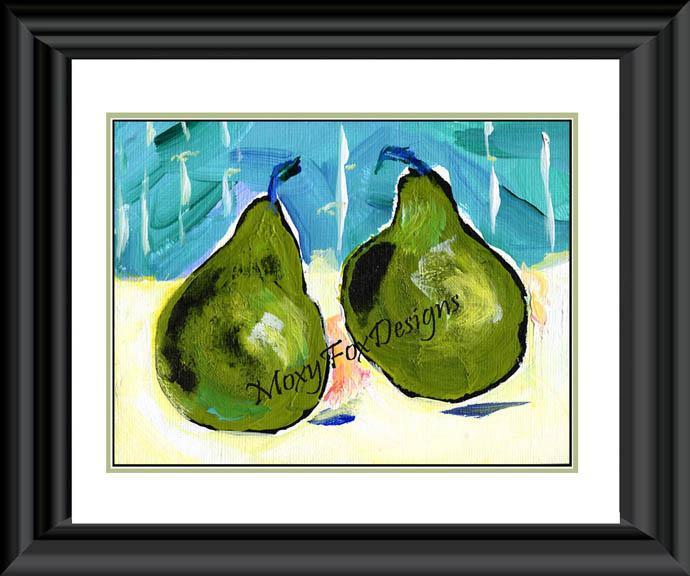 Art -- Fine Art  PEARS  Pantones 2013 Color is Emerald Green, Contemporary
