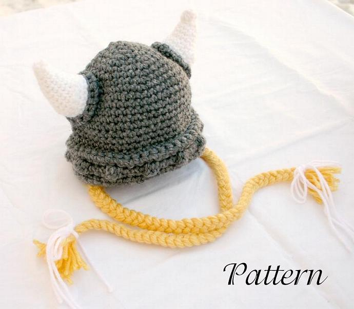 Viking baby hat PDF crochet pattern 0-6 month gray white yellow beanie cap horns