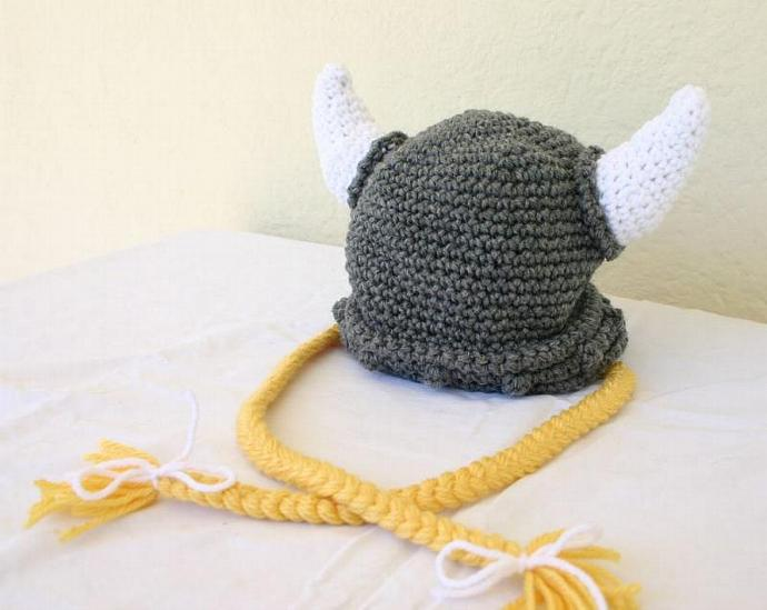 Viking baby hat PDF crochet pattern 6-36 month gray white yellow beanie cap