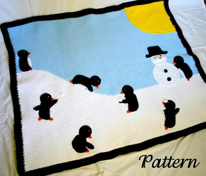Penguin afghan PDF crochet pattern winter scene throw blanket critter bird snow