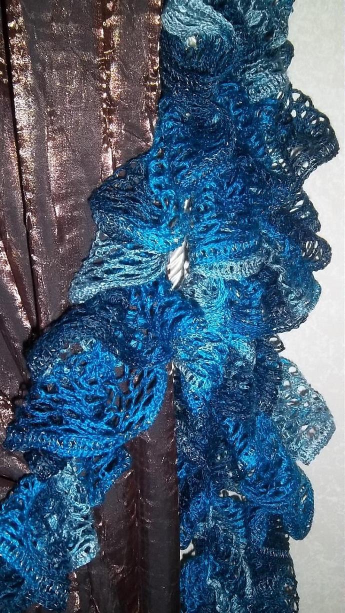 Designer Drapery Tie Backs in Multi-Blue Acrylic Ruffles