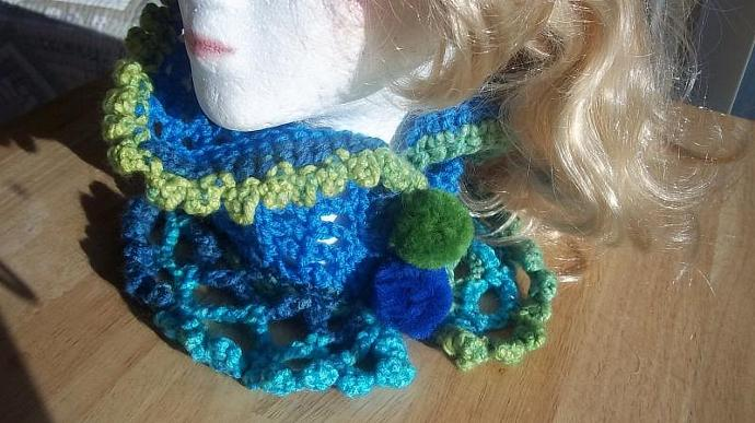 Cowl/Neckwarmer/Necklace in Blues  and Greens With Pom Pom Closures