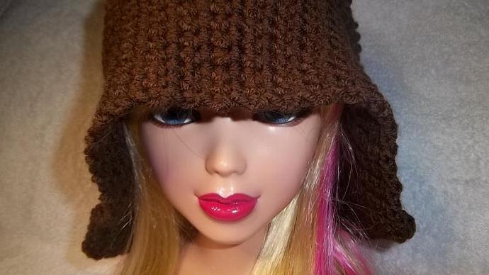 Women's Dark Brown Crocheted Cloche (small circumference)