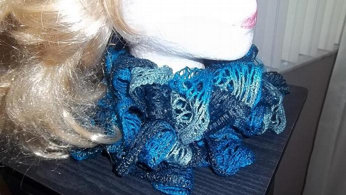 Lacy And Delicately  Ruffled Scarf in Blues and Greys