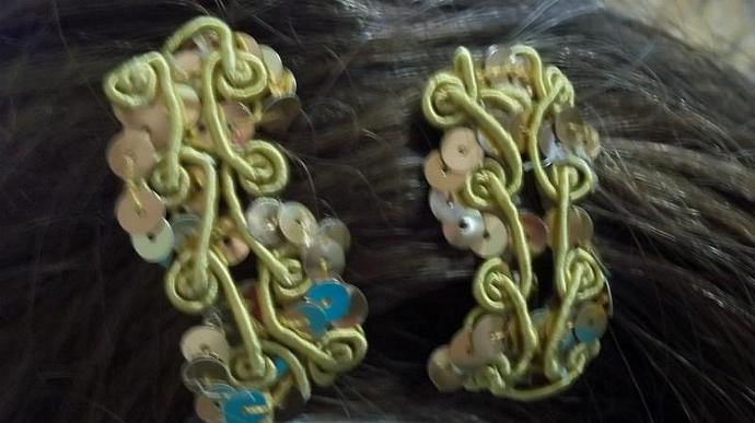 Gold Sequins Barrettes / Hair Accessory/ Hairpiece/ On Medium French Clips