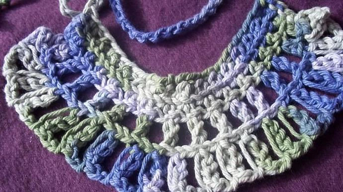 Womens Crocheted Multicolored Cotton Choker With Extension Ties