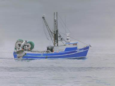 """""""Out Of The Fog (Marie Kathleen)"""" Paper Giclee Print Fishing Boat by Carol"""