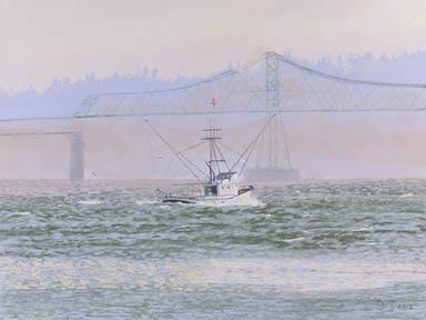 """Kay Ann At The Bridge"" Paper Giclee Print Fishing Boat by Carol Thompson"