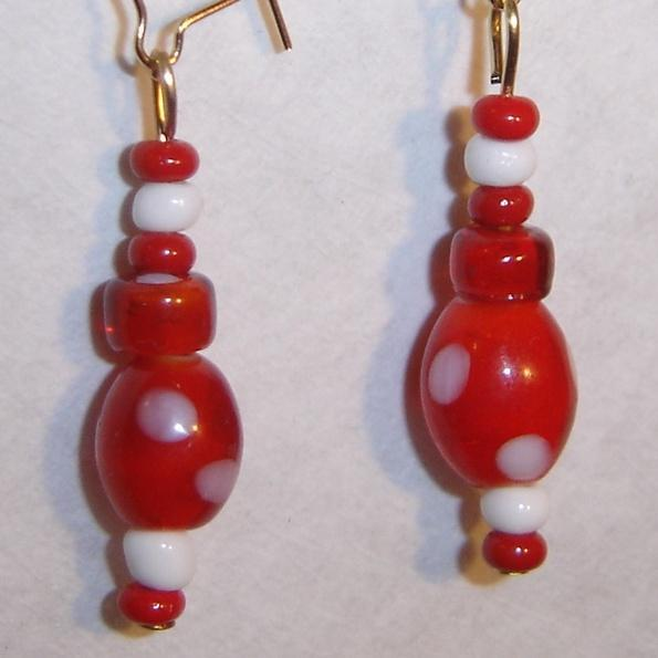 Red and White Polka Dot earrings