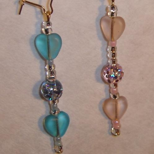 Pink and Blue Hearts earrings