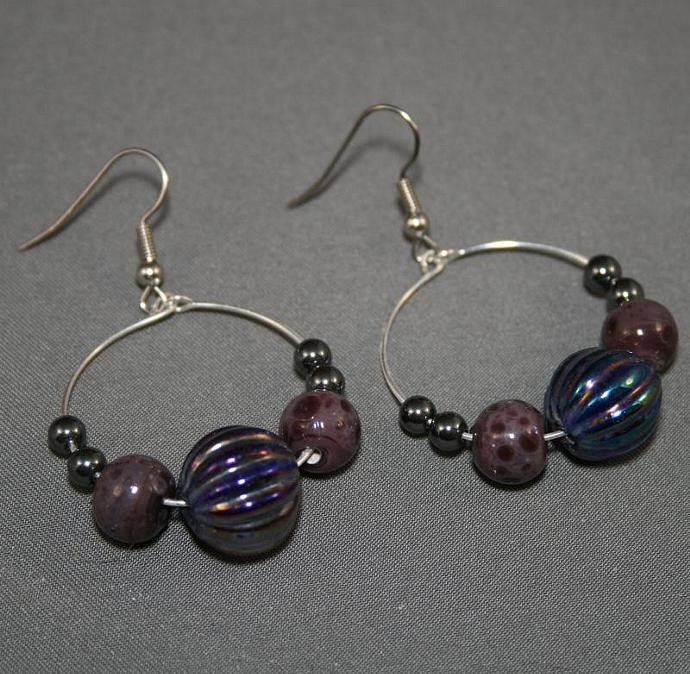 Dark night hoop earrings