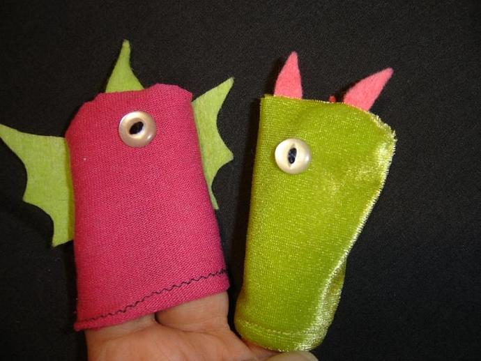 Pink and Green Monsters Finger Puppet Pair