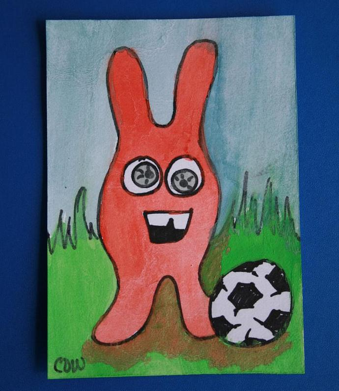 Roger Plays Soccer original art ACEO