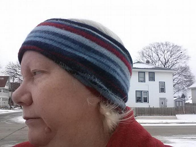 Earmuff headband - Striped Wool and Fleece
