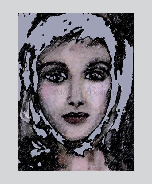 Art — SNOW GIRL— Fine Art Giclee Print, Impressionistic Young Woman, Abstract