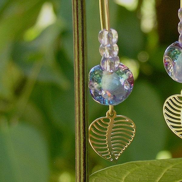 Dangling Lampwork Earrings, Violet, Turquoise, Handmade Lampwork Glass Beads