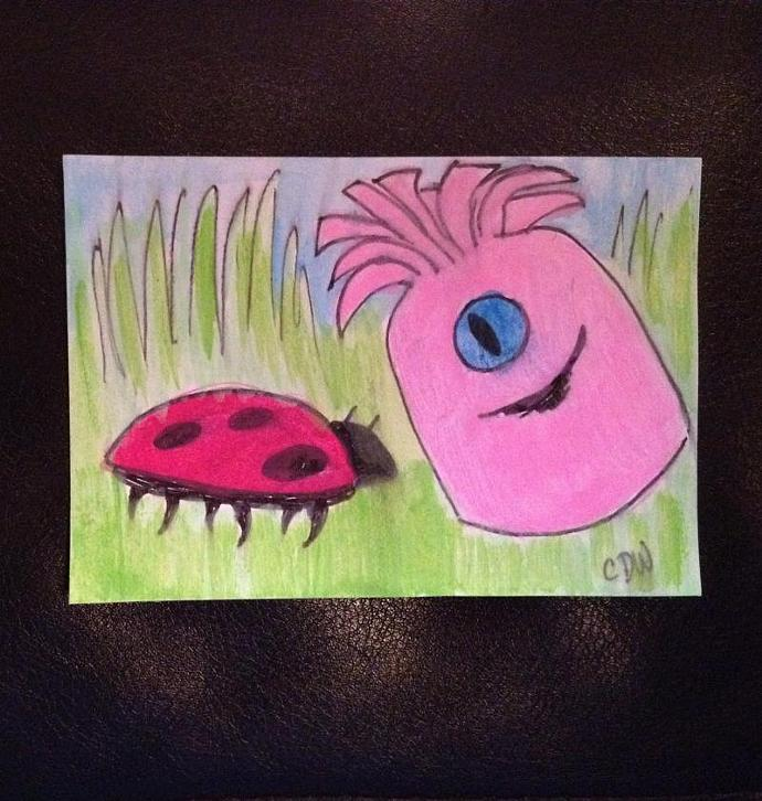 Hello Ladybug original art ACEO