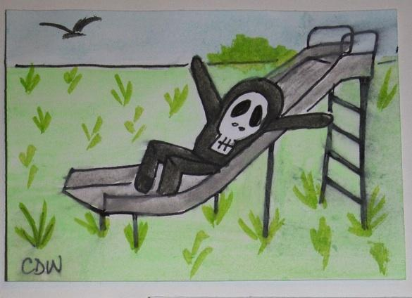 Mr. Bones says WHEE original art ACEO