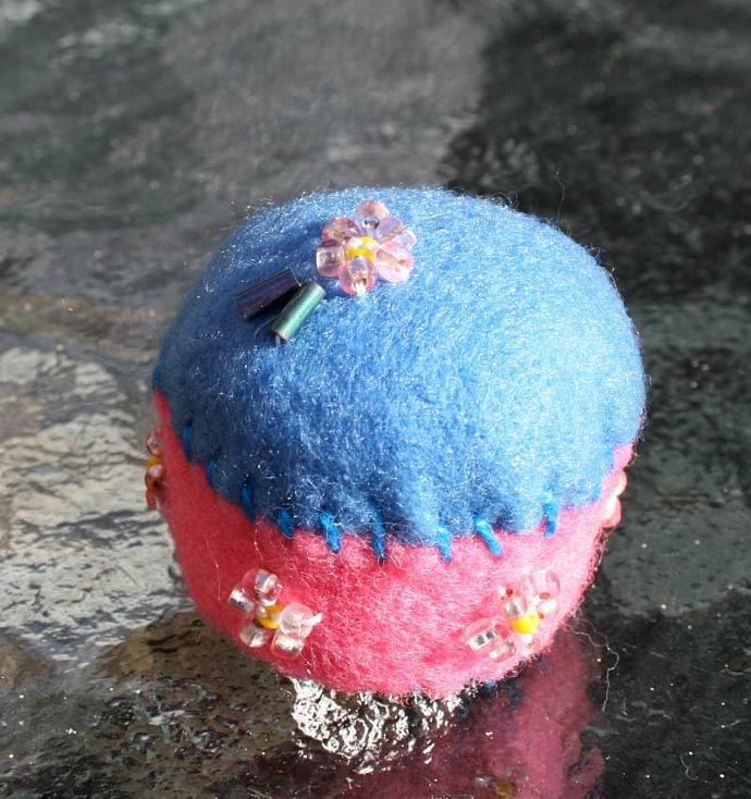 Pink Flower Bottlecap Pincushion