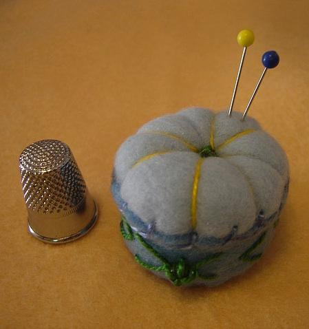 Spring Blue Sky Bottlecap Pincushion