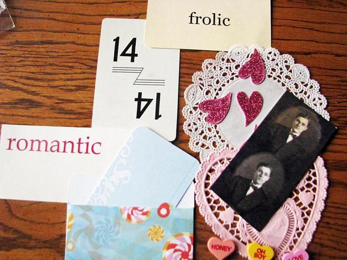 Valentine's Day Kit- Heart Doilies- Vintage Picture- Valentine Tags-  Ready for