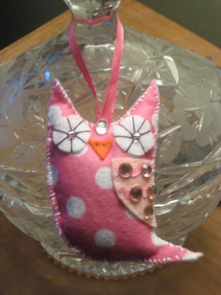 Mini Felt Owl ornament pink and white polka dot owlet