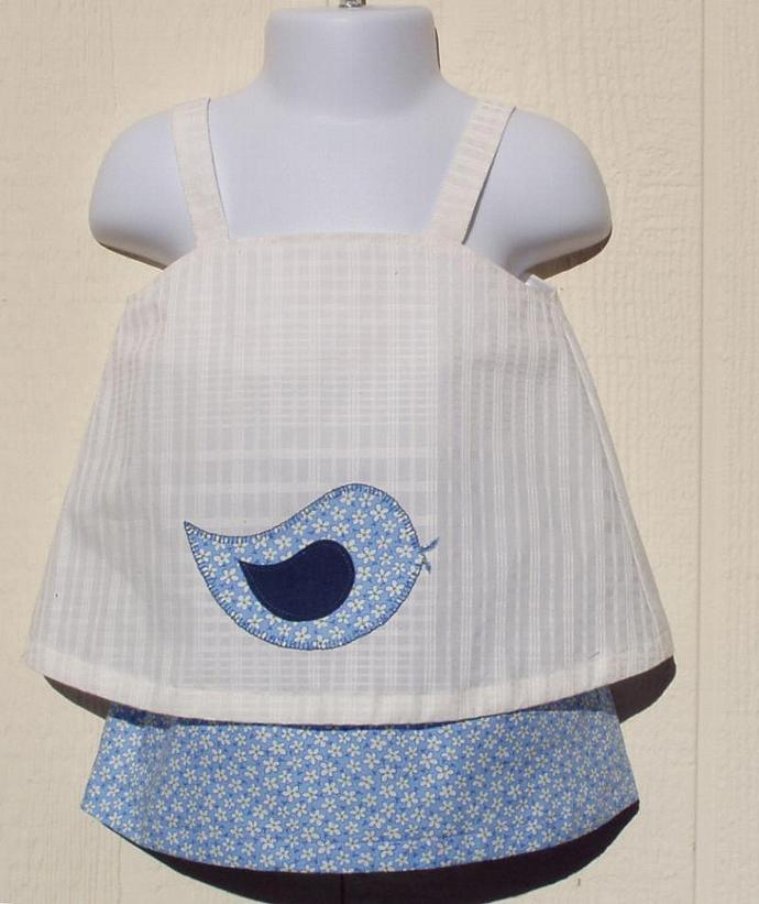 Blue Skirt and White Top Set Size 12 Months
