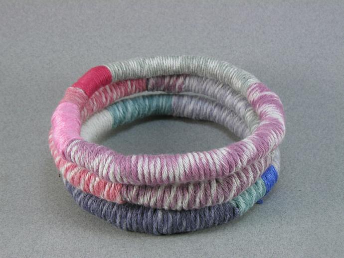 three wrapped soft bangle bracelets stacking bracelets 222