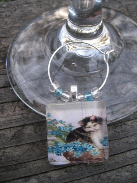 vintage inspired kitty cat wine glass charm -kitty in basket with blue flowers