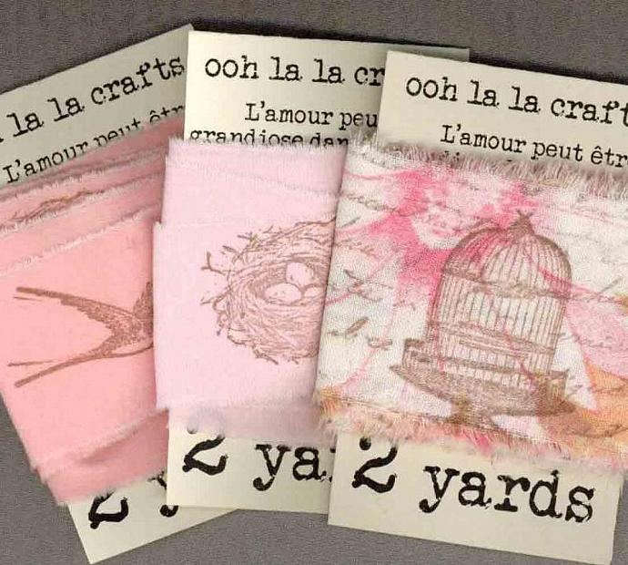 vintage French script  birdcages,nests and birds rubber stamped  ribbon  6 yards