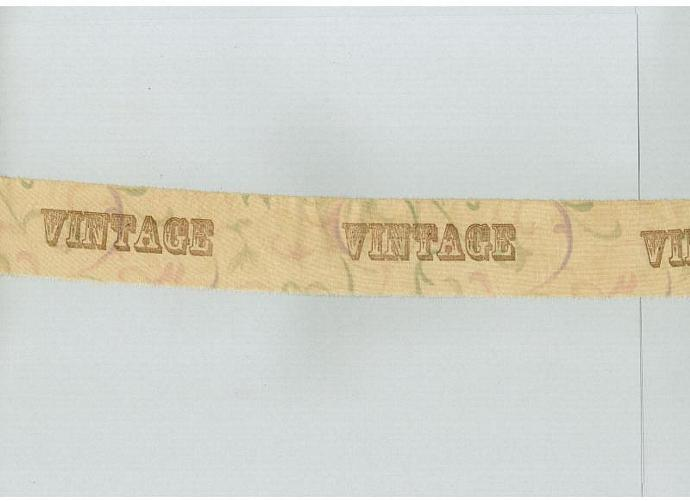 VINTAGE soft  muslin rubber stamped, tea dyed fabric ribbon (item 104