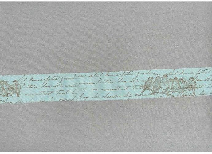 turquoise songbirds vintage french chic script  hand stamped muslin ribbon