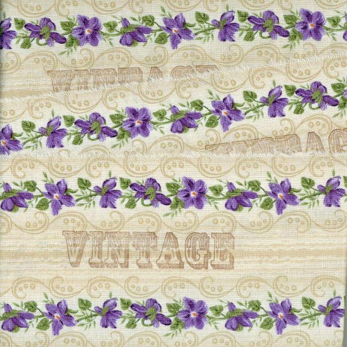 "sweet violets  4. 5"" VINTAGE  romantic shabby chic ribbon hand stamped  (item"