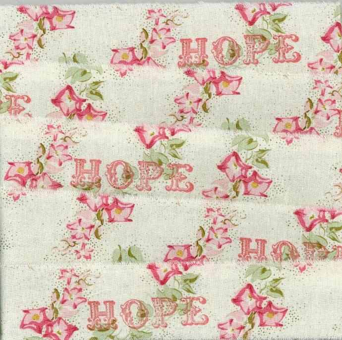 Hope Christmas muslin ribbon french country shabby chic hand rubber stamped