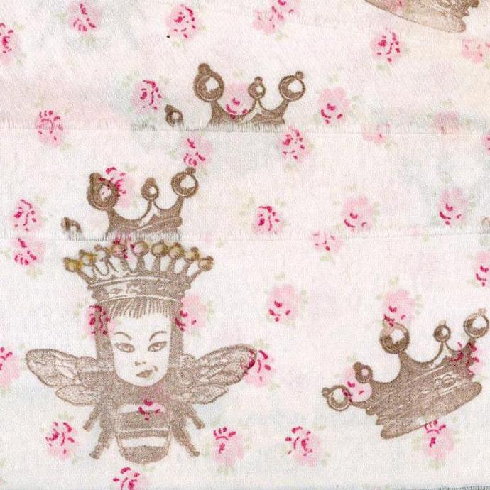 5 yards Queen Bee, Crowns and sweet pink flowers, Rachel Ashwell hand made