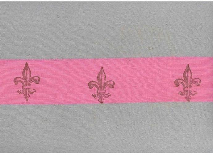 Fleur de lis  hot pink  french chic handmade ribbon fabric muslin trim hand dyed