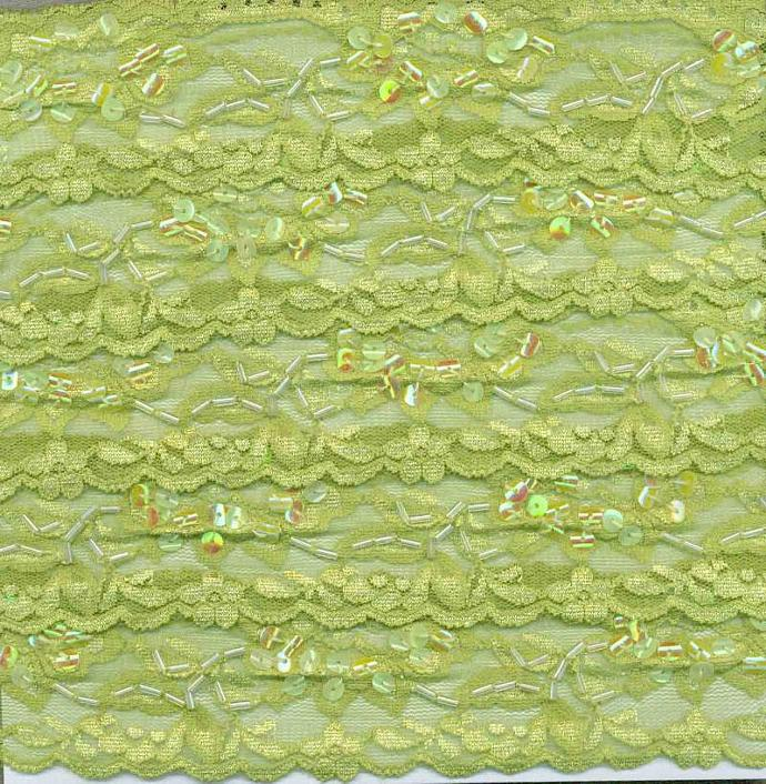 green stretch  elastic sequin lace ribbon  trim 2 yards ( item 535