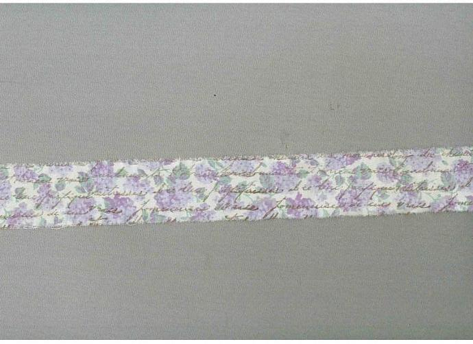 lavender flowers vintage french chic script  hand stamped muslin ribbon shabby