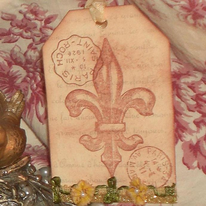 Fluer De Lis, French postmarks gift tag french ribbon flower trim (t753
