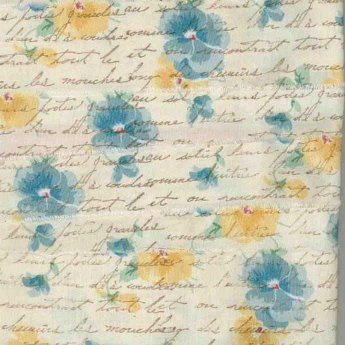 goldenrod, blue pansies ,rubber stamped french script muslin handmade floral